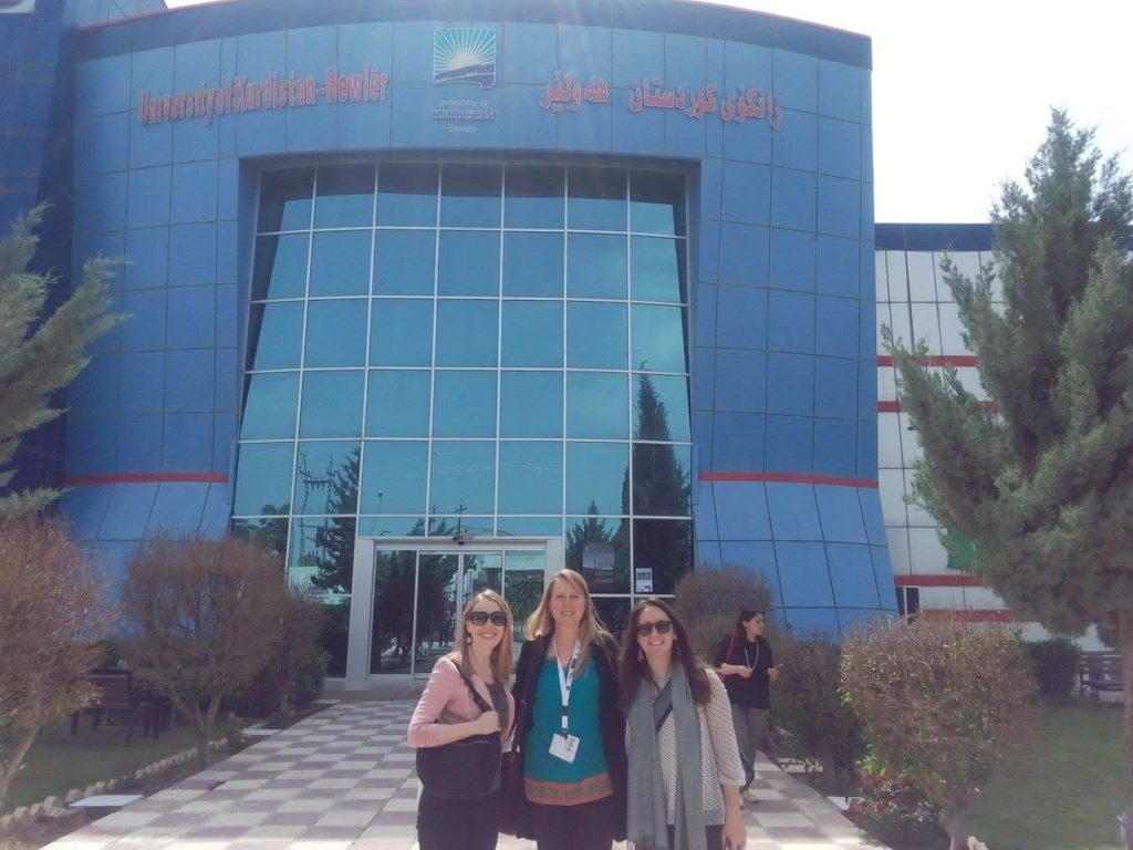 Davis with GU Colleagues Vicki Valosik and Grace Benton at the University of Kurdistan in Iraq
