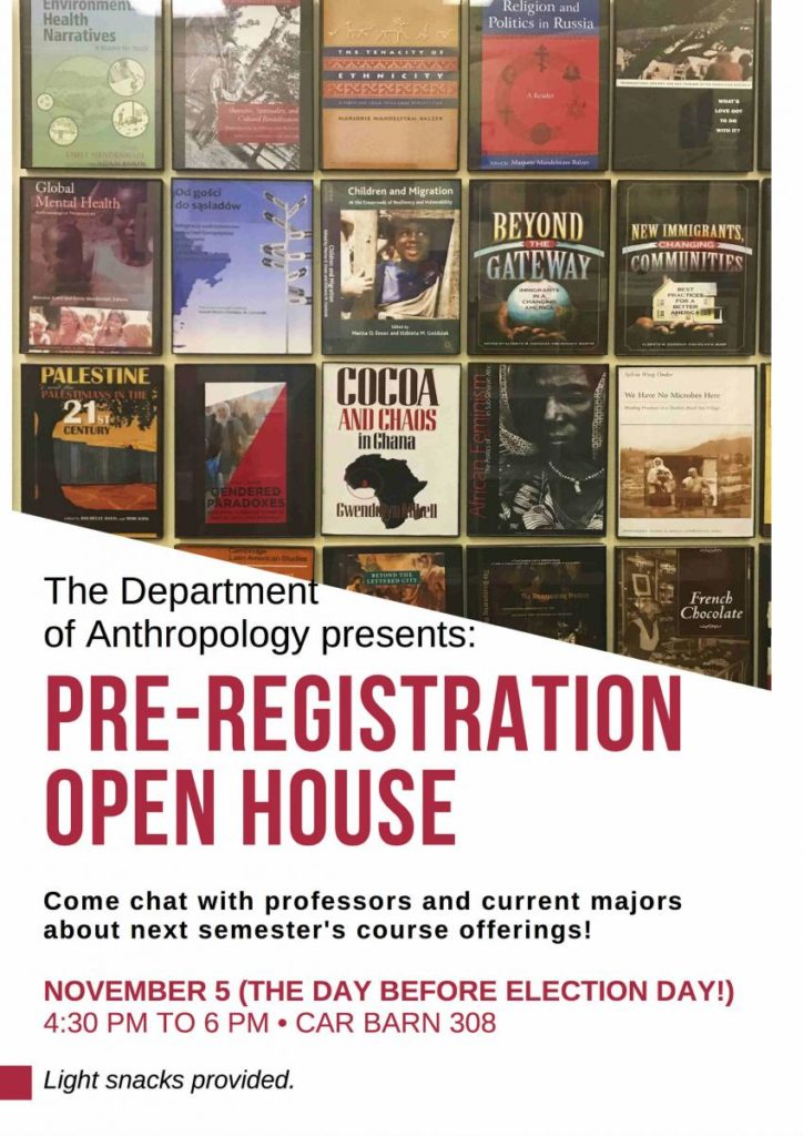 flyer for Fall 2018 Open House featuring images of faculty publications