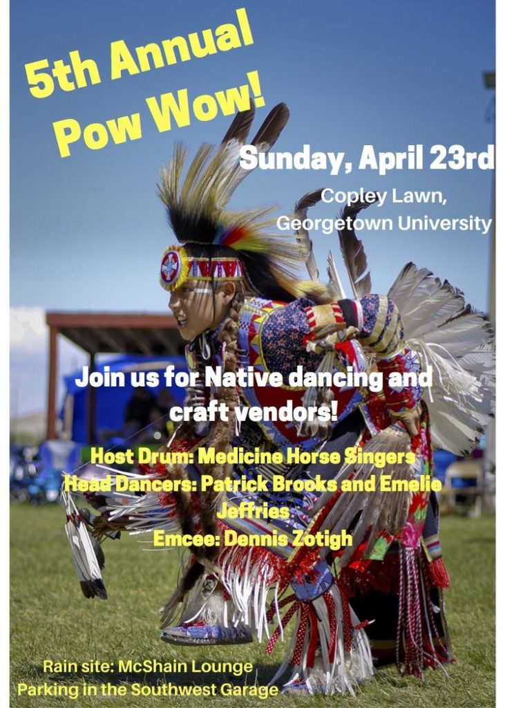 Pow Wow Flyer for Spring 2016 featuring Native American dancer