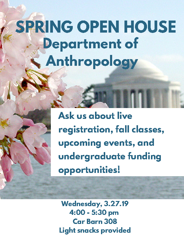 Spring 2019 Open House Flyer with image of cherry blossoms at the Tidal Basin