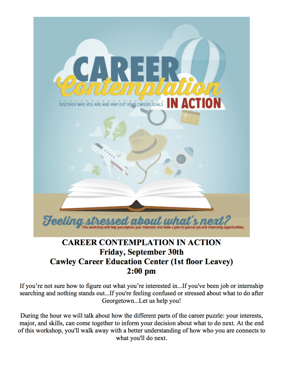 Career Contemplation event flyer