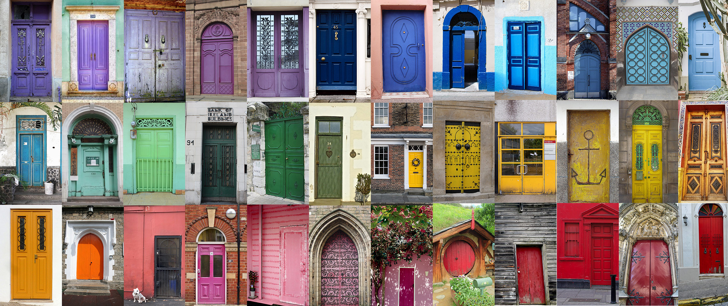 collage of assorted colored doors