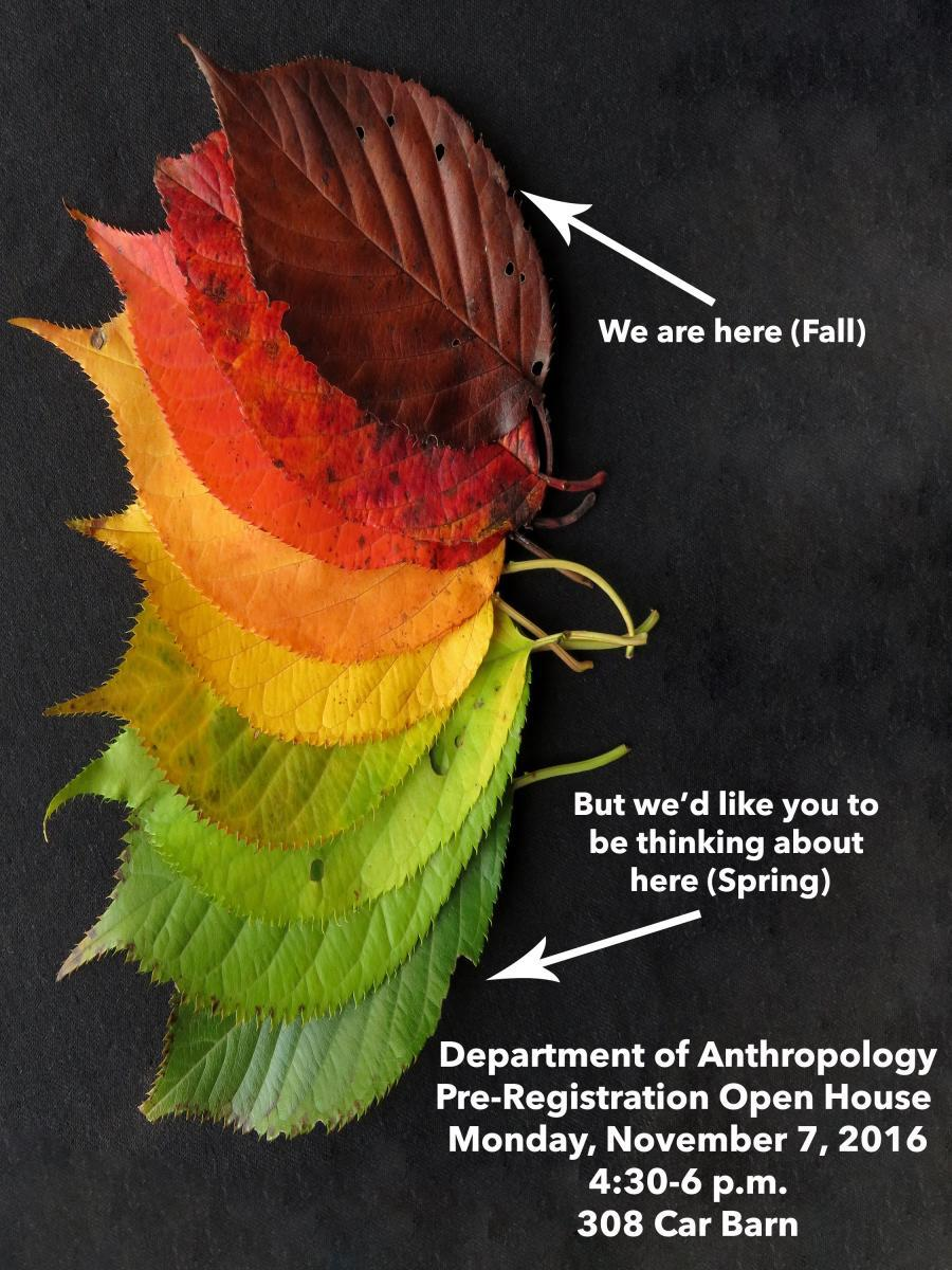 Spring 2017 open house flyer with colored leaves