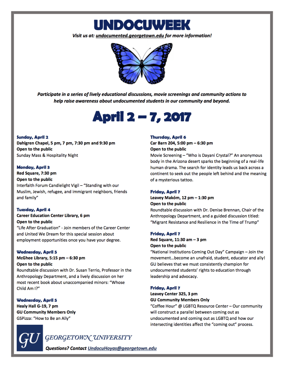 Undocuweek 2017 | Department of Anthropology | Georgetown