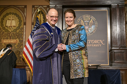 Professor Onder with President DeGioia at Spring 2019 Faculty Convocation