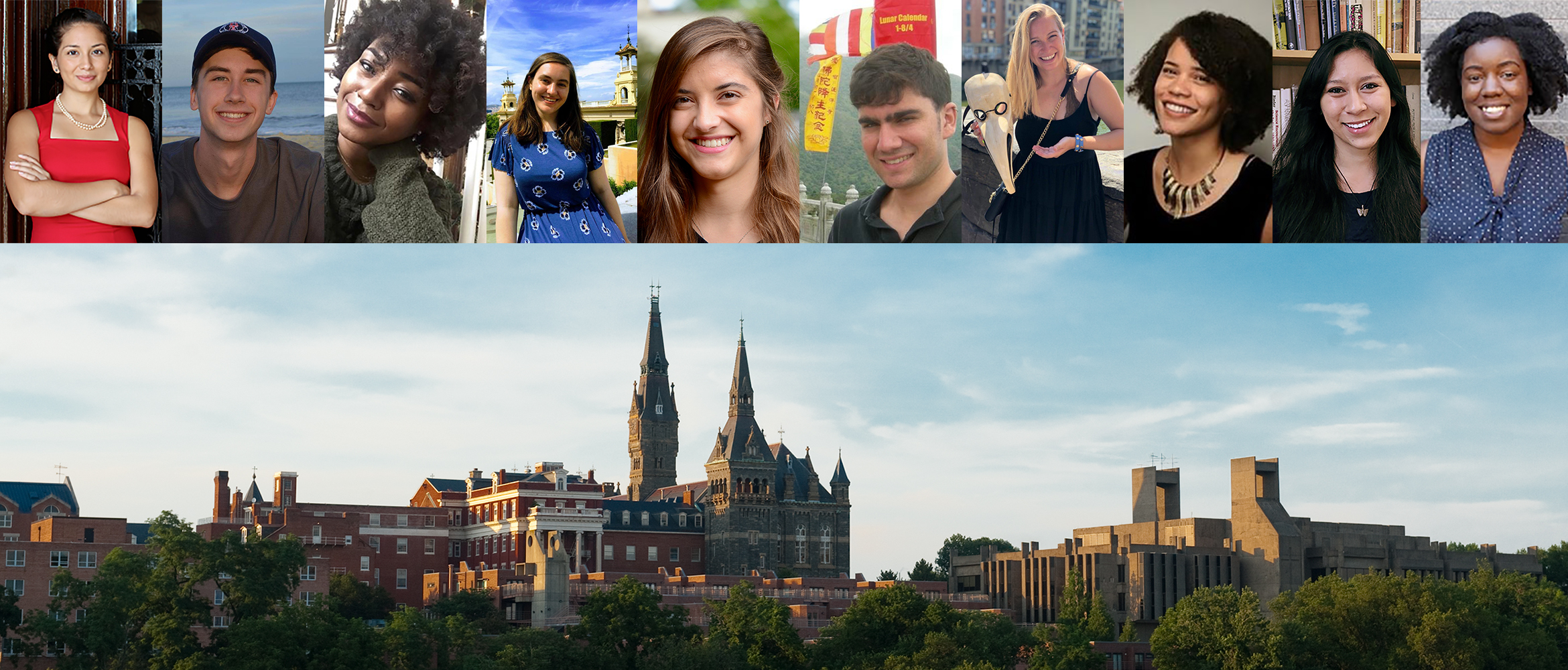 Collage image of Anthropology Students and Alumni with photo of Georgetown